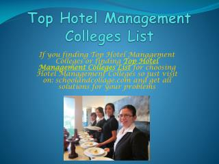 School and College- Top Hotel Management Colleges List, MBA