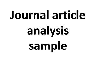 journal article analysis sample