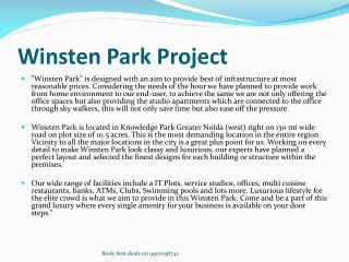 Winsten Park in Greater Noida West @ 9910098742