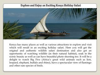Explore and Enjoy an Exciting Kenya Holiday Safari
