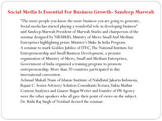 Social Media Is Essential For Business Growth- Sandeep Marwa