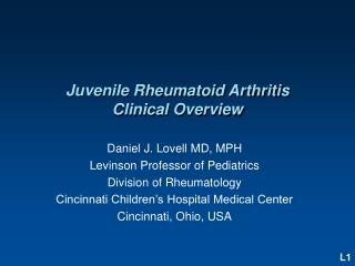Juvenile Rheumatoid Arthritis Clinical Overview