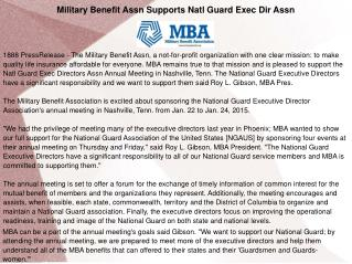 Military Benefit Assn Supports Natl
