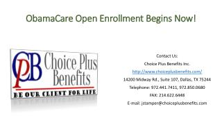 ObamaCare Open Enrollment Begins Now!