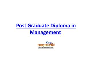 Post Graduate Diploma in Management