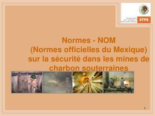 Normes - NOM  Normes officielles du Mexique sur la s curit  dans les mines de charbon souterraines