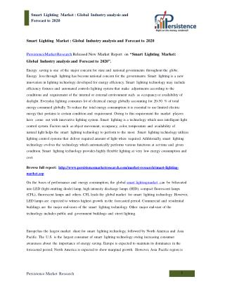 Global Smart Lighting Market Analysis to 2020