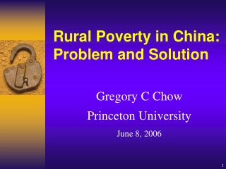 Rural Poverty in China: Problem and Solution