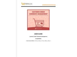 Customer Order Comments Management - USER GUIDE