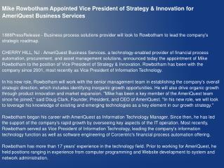 Mike Rowbotham Appointed Vice President of Strategy