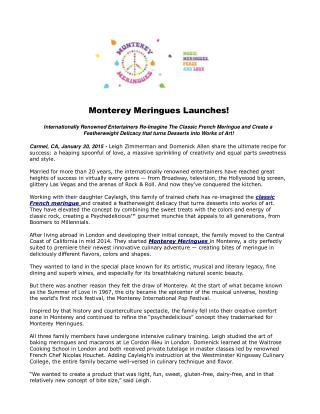 Monterey Meringues Launches!
