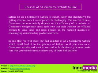 Reasons of e-Commerce website failure