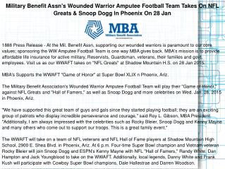 Military Benefit Assn's Wounded Warrior Amputee Football