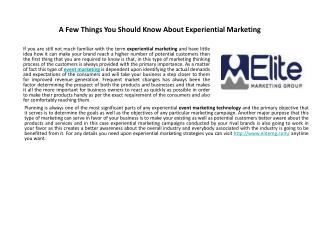 A Few Things You Should Know About Experiential Marketing