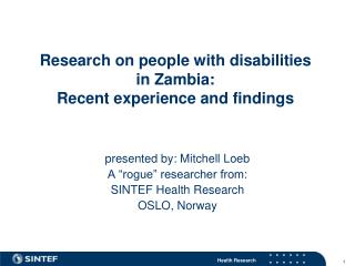 Research on people with disabilities  in Zambia:  Recent experience and findings