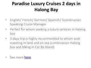 Paradise luxury cruises 2 days in halong bay