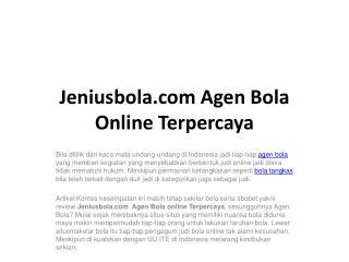 Jeniusbola.com Agen Bola Online Terpercaya