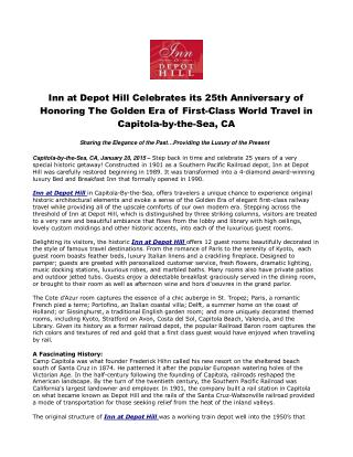 Inn at Depot Hill Celebrates its 25th Anniversary