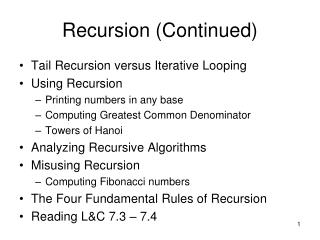 Recursion Continued