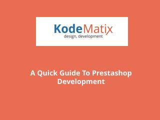 A quick guide to prestashop development