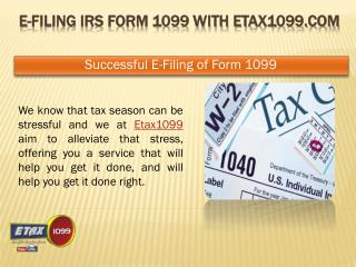 Form 1099 E-File With Etax1099 For the Year 2014