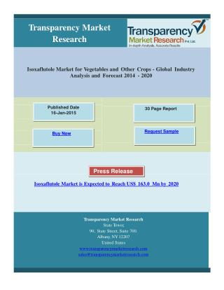Isoxaflutole Market is Expected to Reach US$ 163.0 Mn by 202