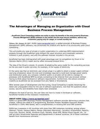 The Advantages of Managing an Organization with Cloud Busine