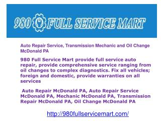 Auto Repair Service, Transmission Mechanic and Oil Change Mc
