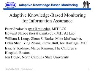 Adaptive Knowledge-Based Monitoring for Information Assurance