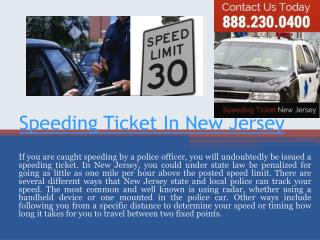 New Jersey Speeding Ticket