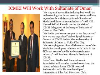 Icmei will work with sultanate of oman