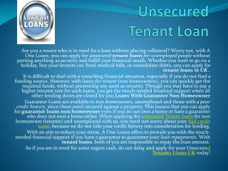 Quick  Cash Unsecured Tenant Loan
