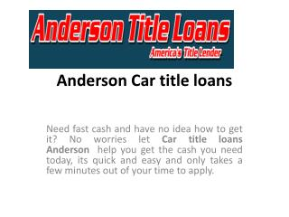Title loans Anderson