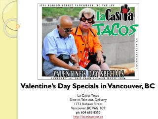 Valentines Day Specials at La Casita Tacos in Vancouver BC