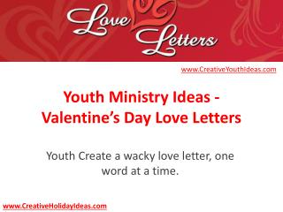 Youth Ministry Ideas - Valentine's Day Love Letters