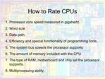 How to Rate CPUs