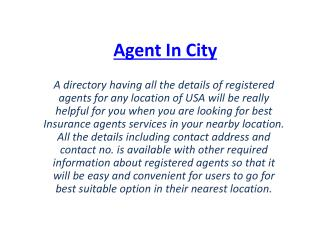 Insurance Agent Directory, USA