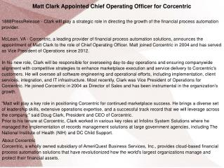 Matt Clark Appointed Chief Operating Officer for Corcentric