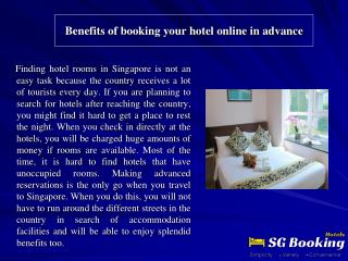 Benefits of booking your hotel online in advance