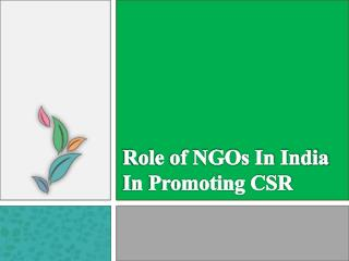 Role of NGOs in India in promoting CSR