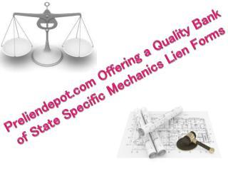 Preliendepot.com Offering a QualityMechanics Lien Forms