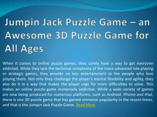 Jumpin Jack Puzzle Game – an Awesome 3D Puzzle Game for All