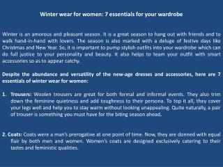 Winter wear for women: 7 essentials for your wardrobe