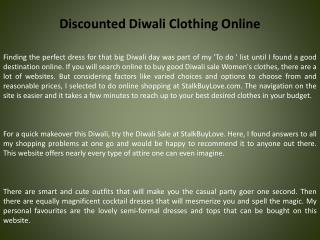 Discounted Diwali Clothing Online