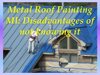 Metal Roof Painting MI: Disadvantages of not knowing it