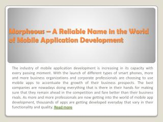 Morpheous – A Reliable Name in the World of Mobile App