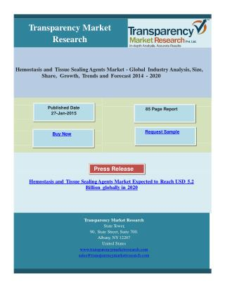 Hemostasis and Tissue Sealing Agents Market Expected to Reac