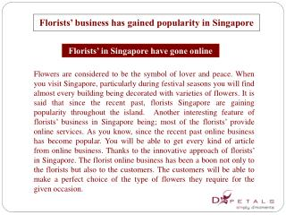 Florists� business has gained popularity in Singapore