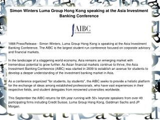 Simon Winters Luma Group Hong Kong speaking at the Asia