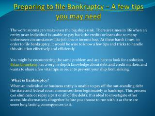 Preparing to file Bankruptcy – A few tips you may need